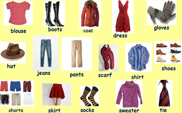 Prendas de vestir en inglés