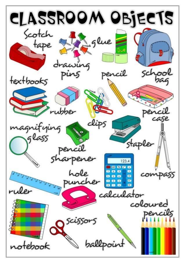 Útiles escolares en inglés